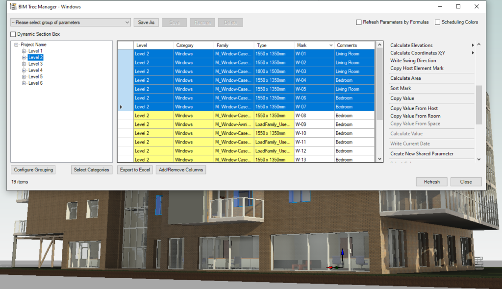 Controlling elements in Revit using AGACAD's BIM Tree Manager