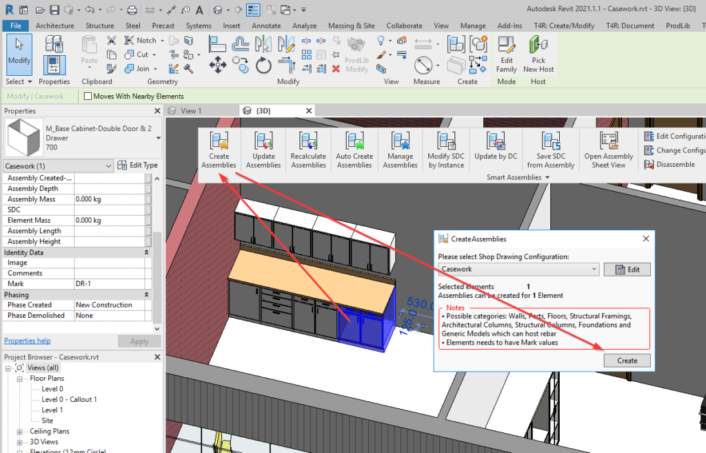 Creating an assembly of selected casework in Revit