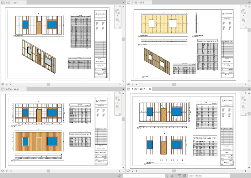 Shop drawings of timber framed walls in Revit