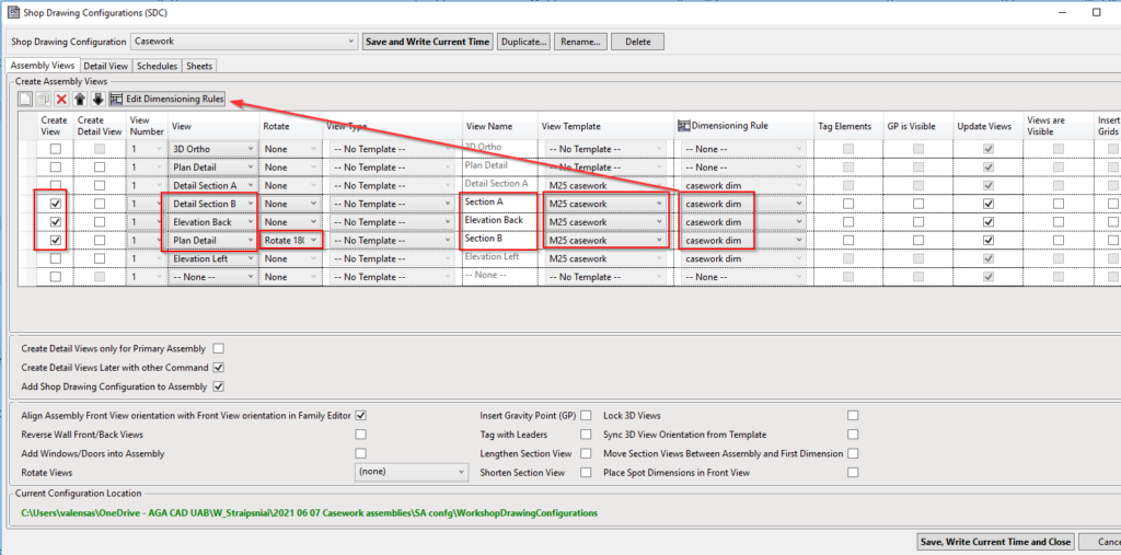 Views settings for casework assembly in Revit