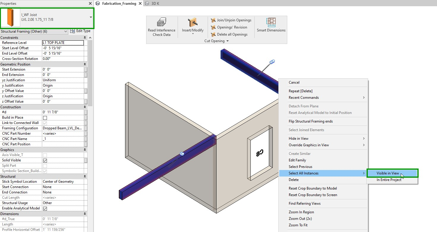 Select All Instances Visible in View to Run Clash Detection in Revit