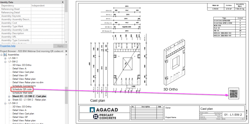 QR code on shop drawing of precast wall