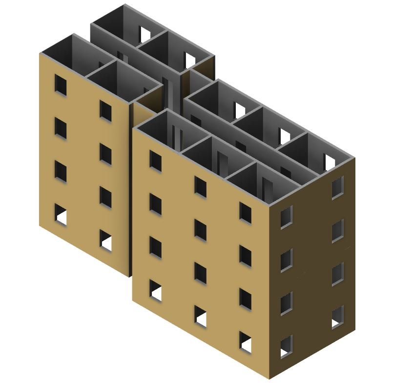 Architectural model of a building in Revit