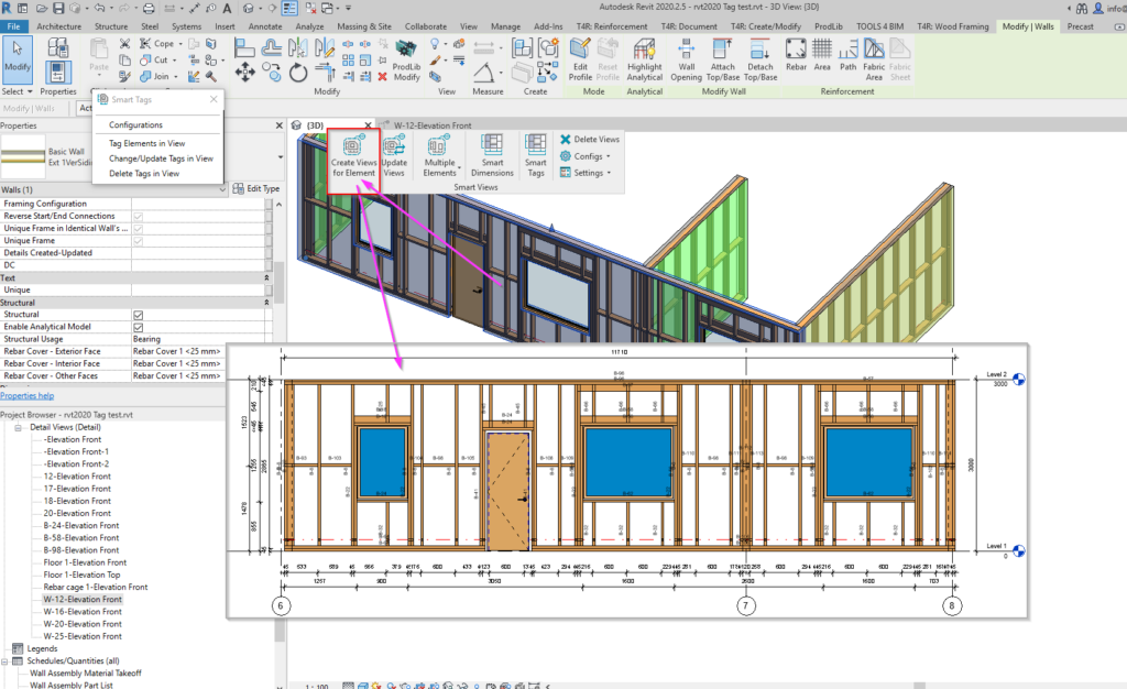 Create wood framed wall with auto-dimensions in Revit