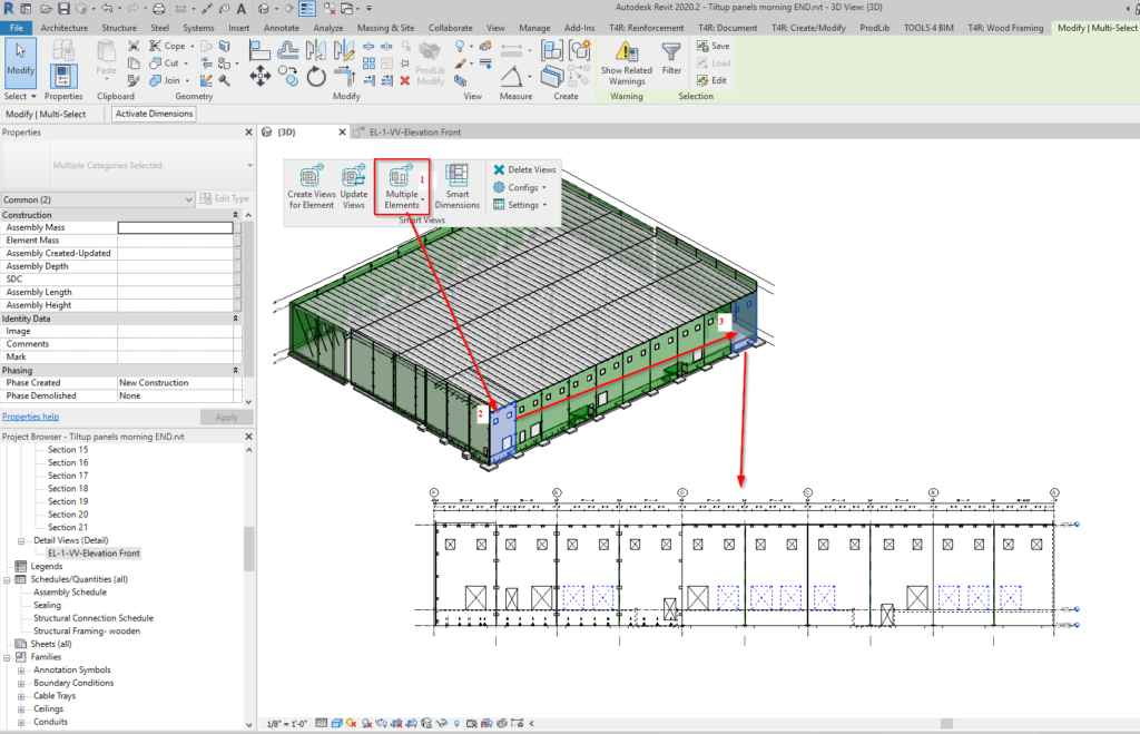 Views with boundary by multiple elements in Revit