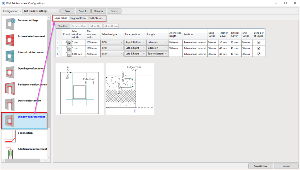 Configurations for window rebar in Revit