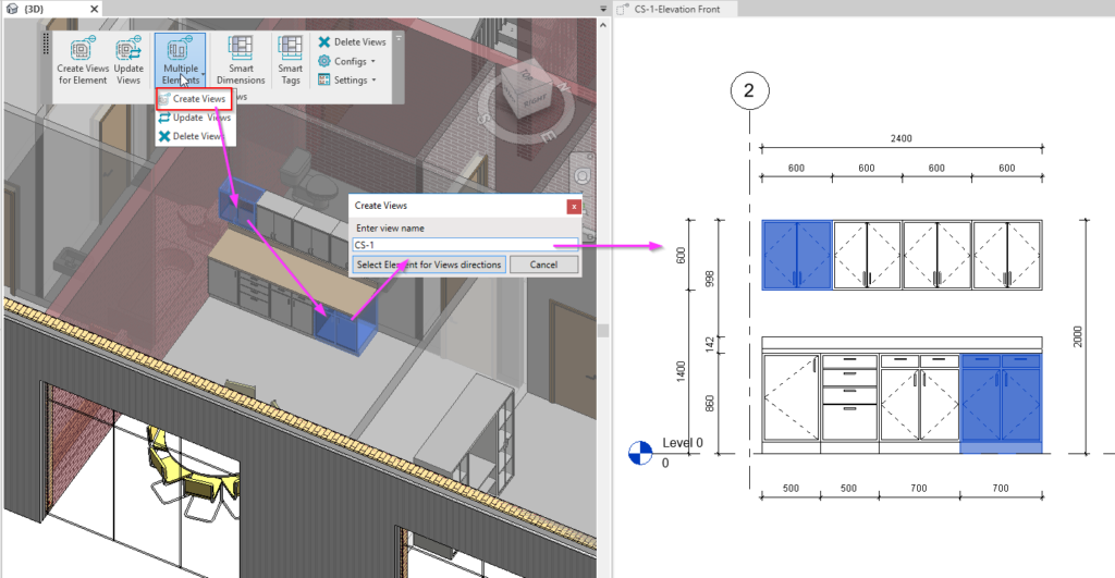 Create casework views in Revit automatically using AGACAD's Smart Views tool