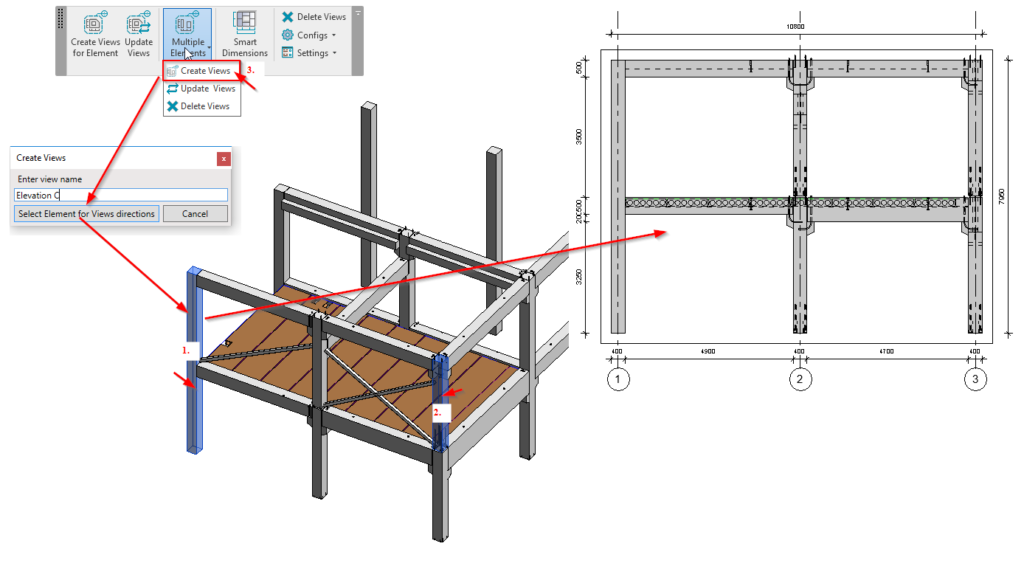 Framing elevation with auto-dimensions in Revit