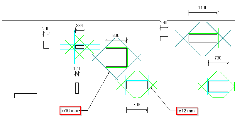 Rebar layouts for openings of various sizes in Revit