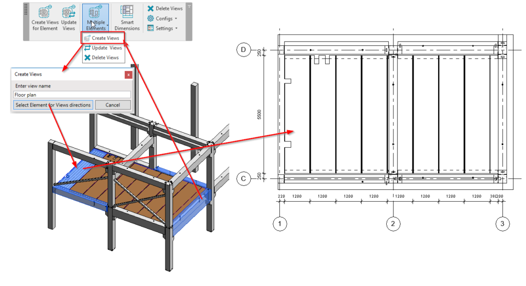 Precast slabs plan with auto-dimensions in Revit