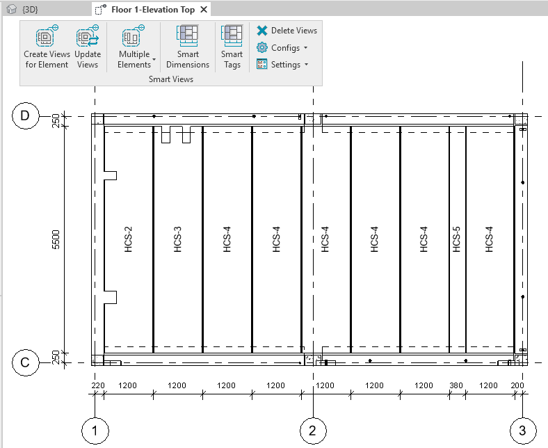 Precast slab plan with auto-dimensions and tags in Revit