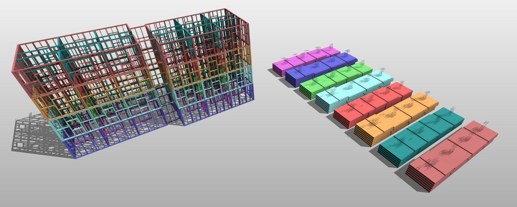 Panelized walls of a framed building in Revit