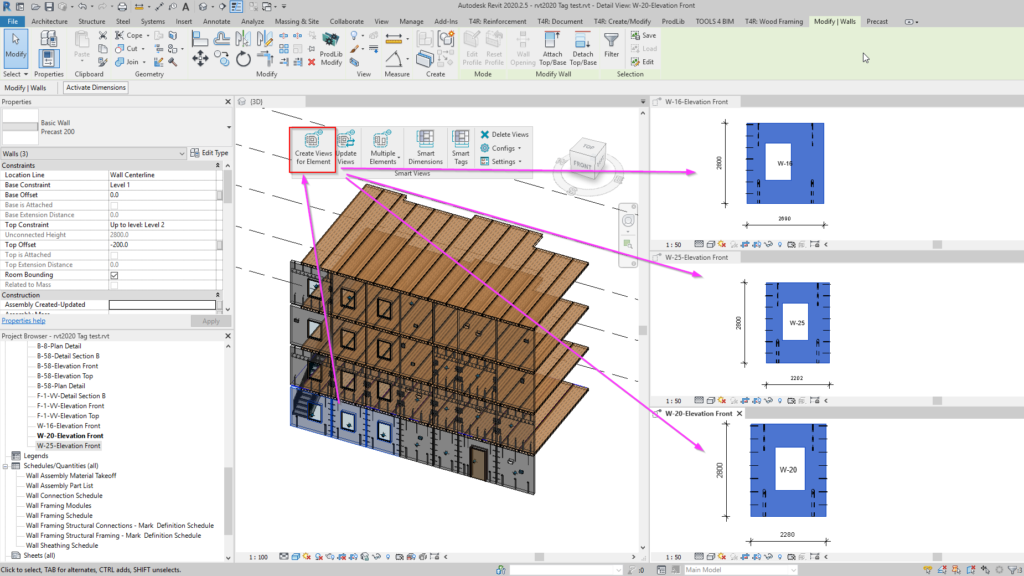 Create views of individual isolated elements in Revit using Smart Views tool
