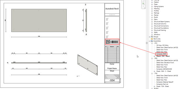 Revit schedule containing QR code and barcode