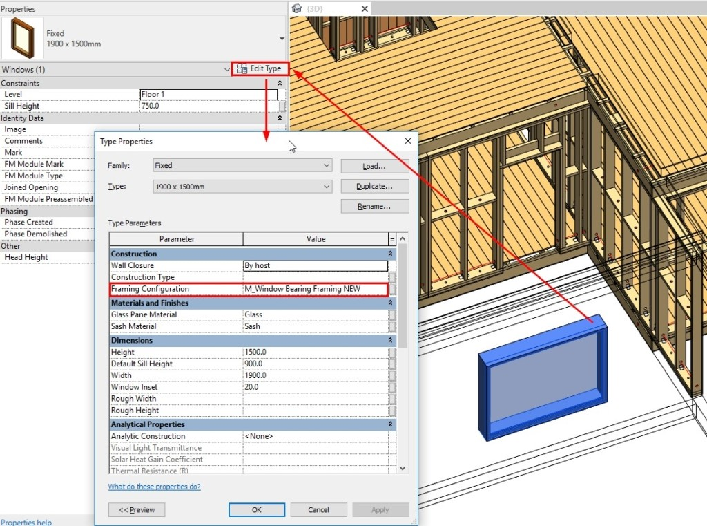 Configurations for framing openings in Revit based on Family Type instead of just by width