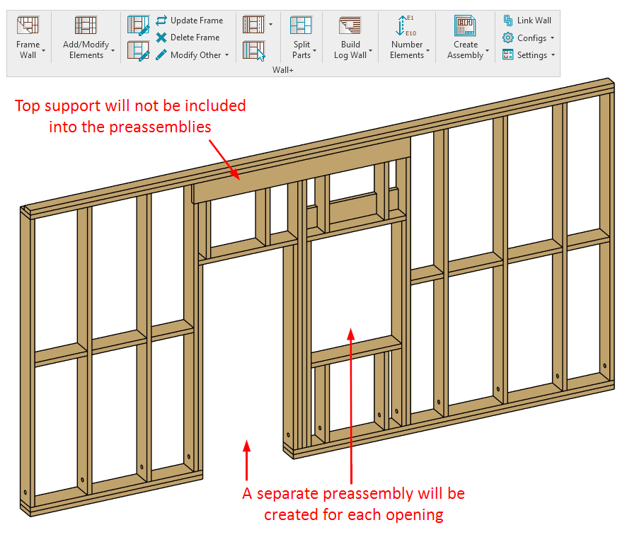 Make separate preassemblies for joined openings in Revit