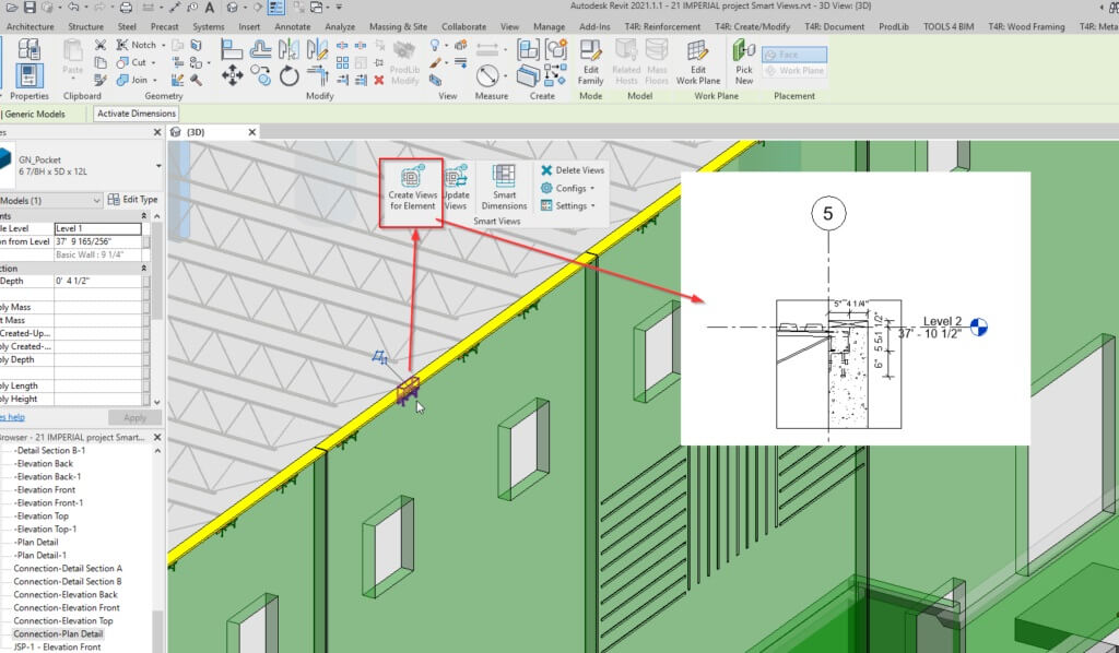 Joist support selection with AGACAD Smart Views for Revit