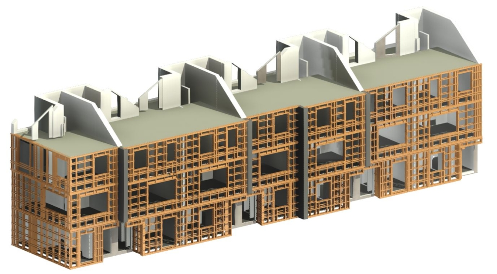 Framed walls of an apartment building modeled in Revit