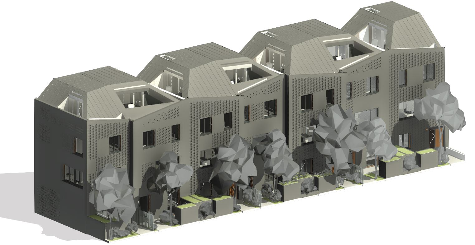 A building with cladding modeled in Revit