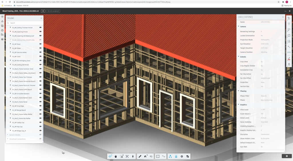 Fully framed models can be inspected and scheduled in BIM360