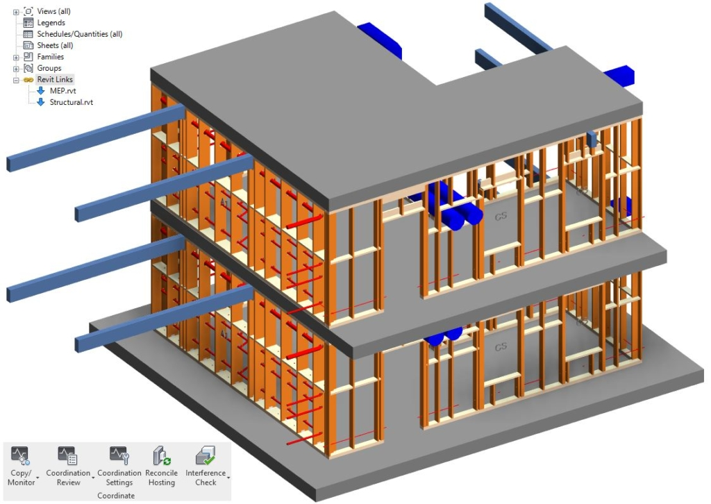 Pipes and ducts passing through walls framing in a Revit model