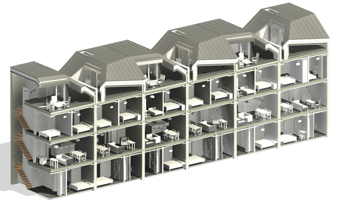 Cutaway view of a building modeled in Revit