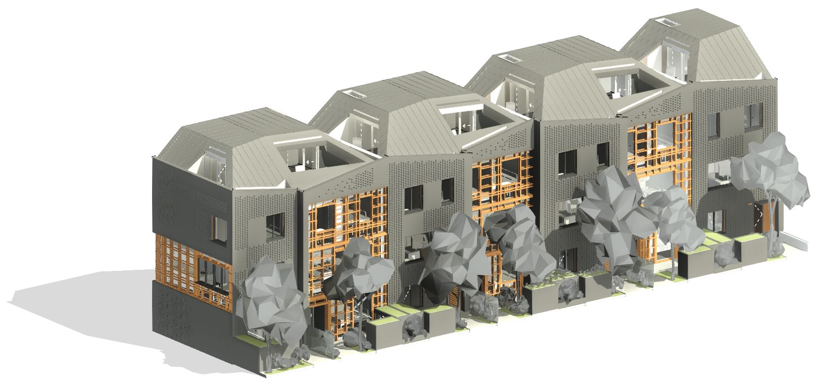 Apartment building framed and modeled in Revit
